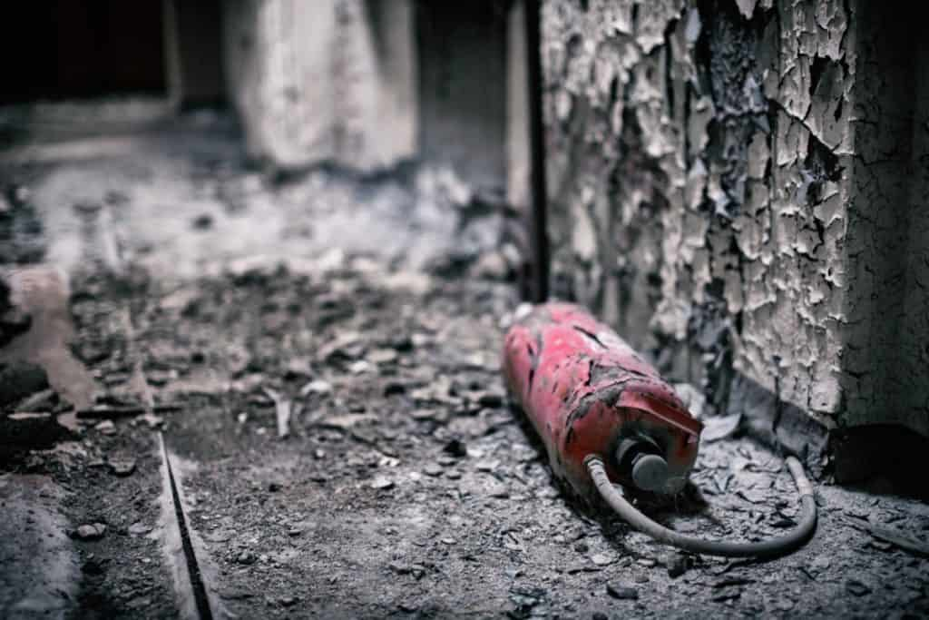 Fire Extinguisher remains after a fire
