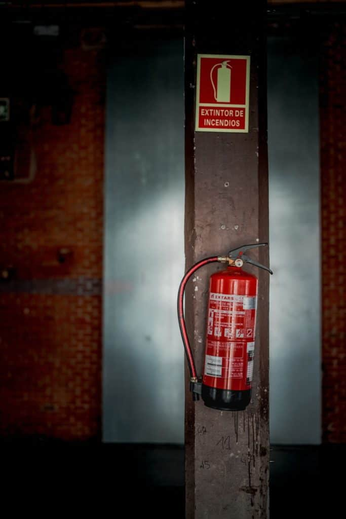 Fire Extinguisher on pole