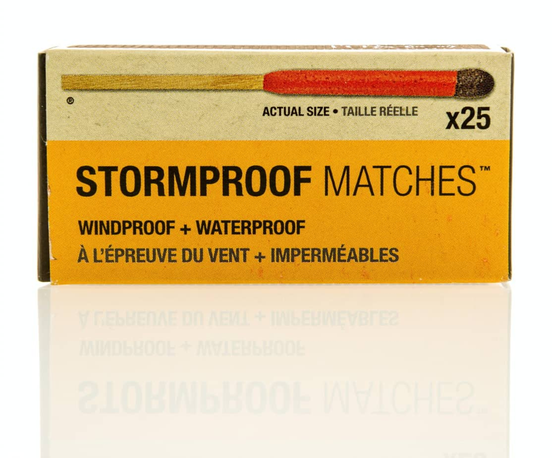 stormproof matches in a closed box